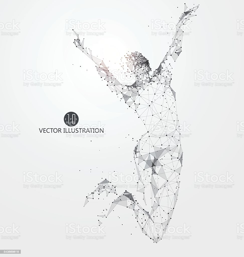 Jump woman, points, lines and connected to form, vector illustration. vector art illustration