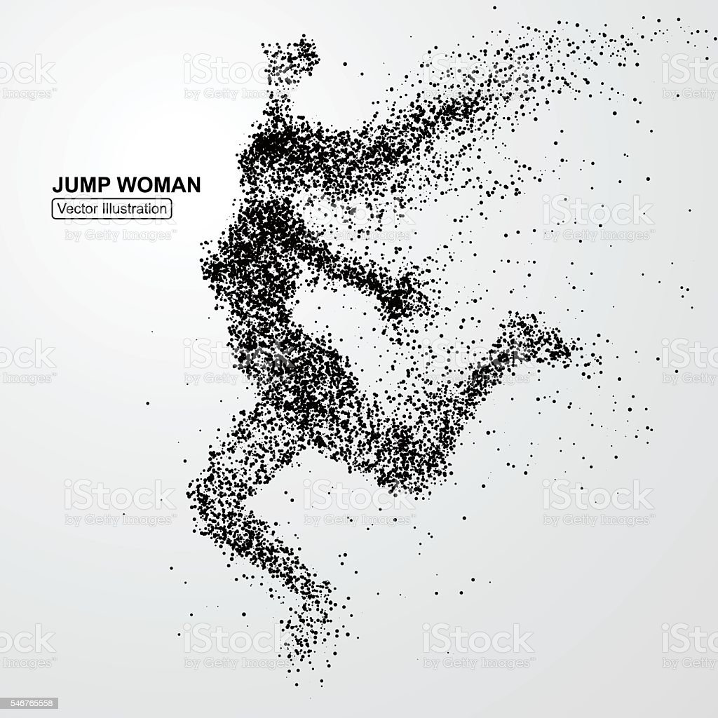 Jump woman,Vector graphics composed of particles. vector art illustration