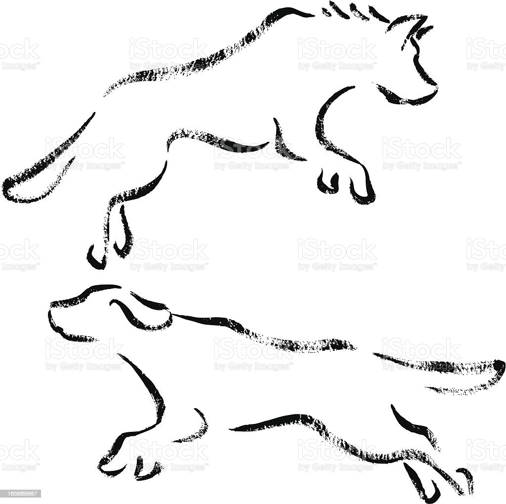 Jumping dogs royalty-free stock vector art