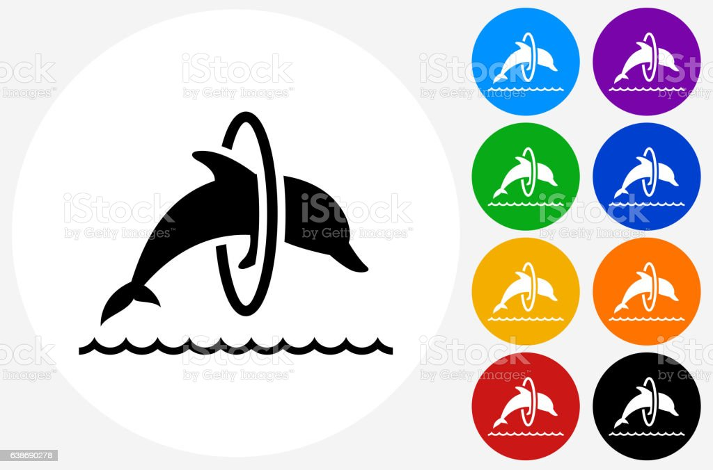 Jumping Dolphin Icon on Flat Color Circle Buttons vector art illustration