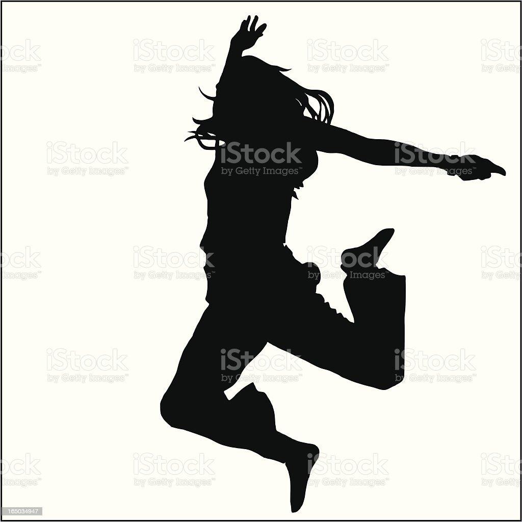 Jumping Girl 02 vector art illustration