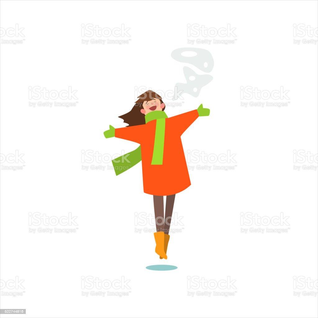 Jumping Girl In Winter Coat vector art illustration