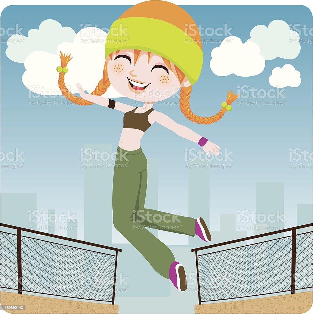Jumping Girl vector art illustration
