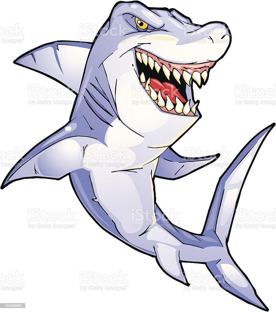 Jumping Great White Shark vector art illustration
