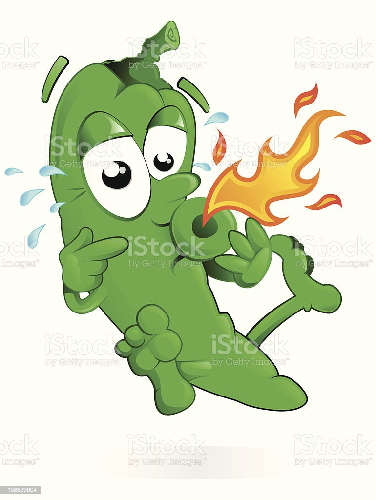 Jumping Green Pepper with his Mouth on Fire vector art illustration