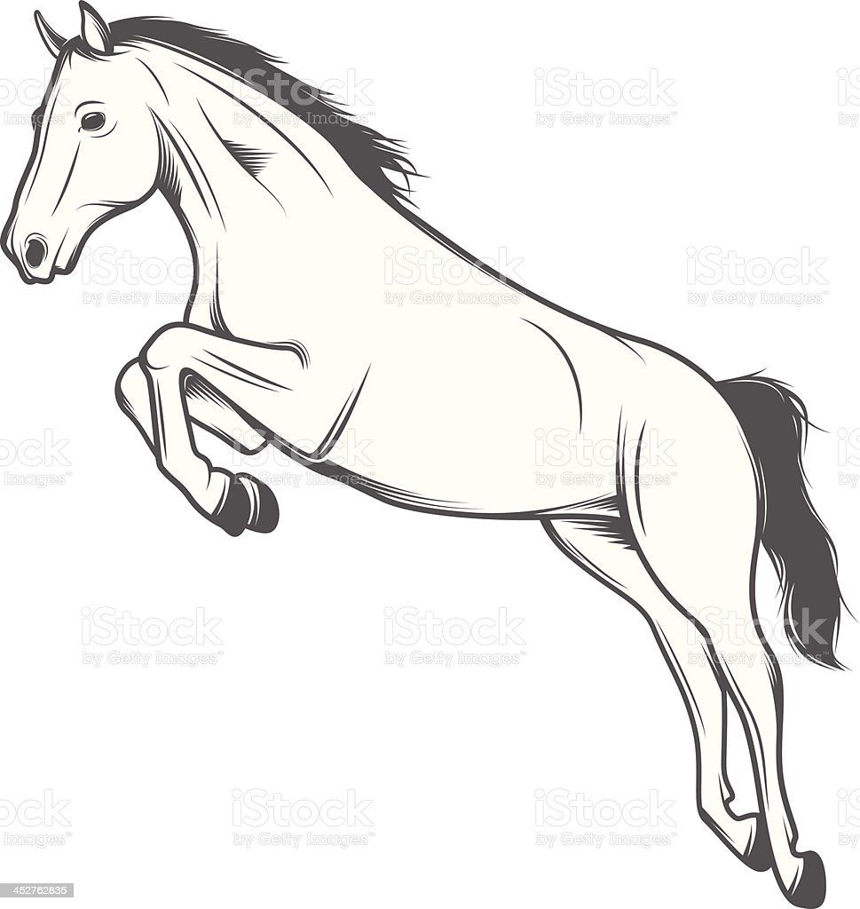 Jumping horse isolated on white background royalty-free stock vector art