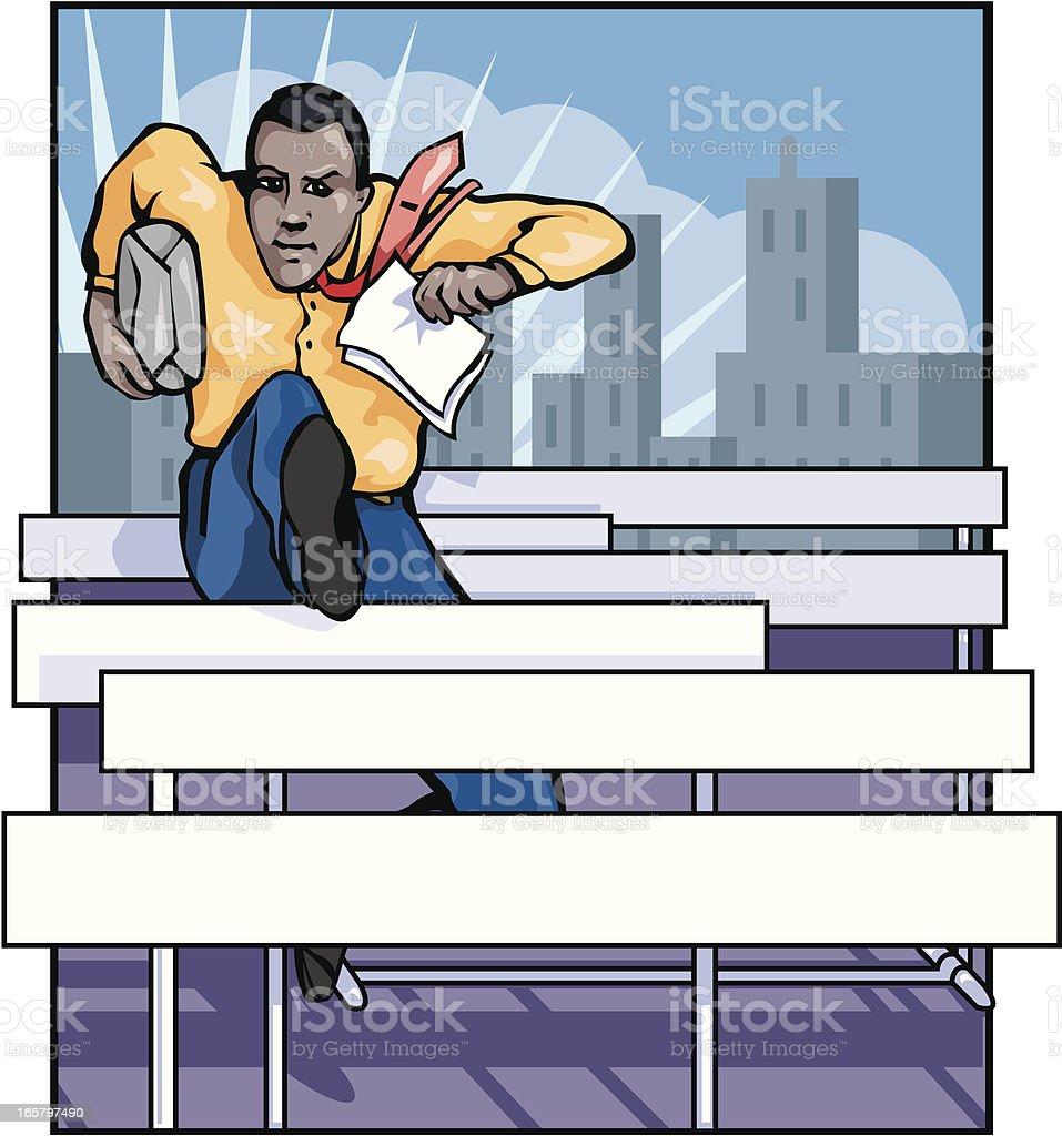 Jumping Hurdles in Business royalty-free stock vector art