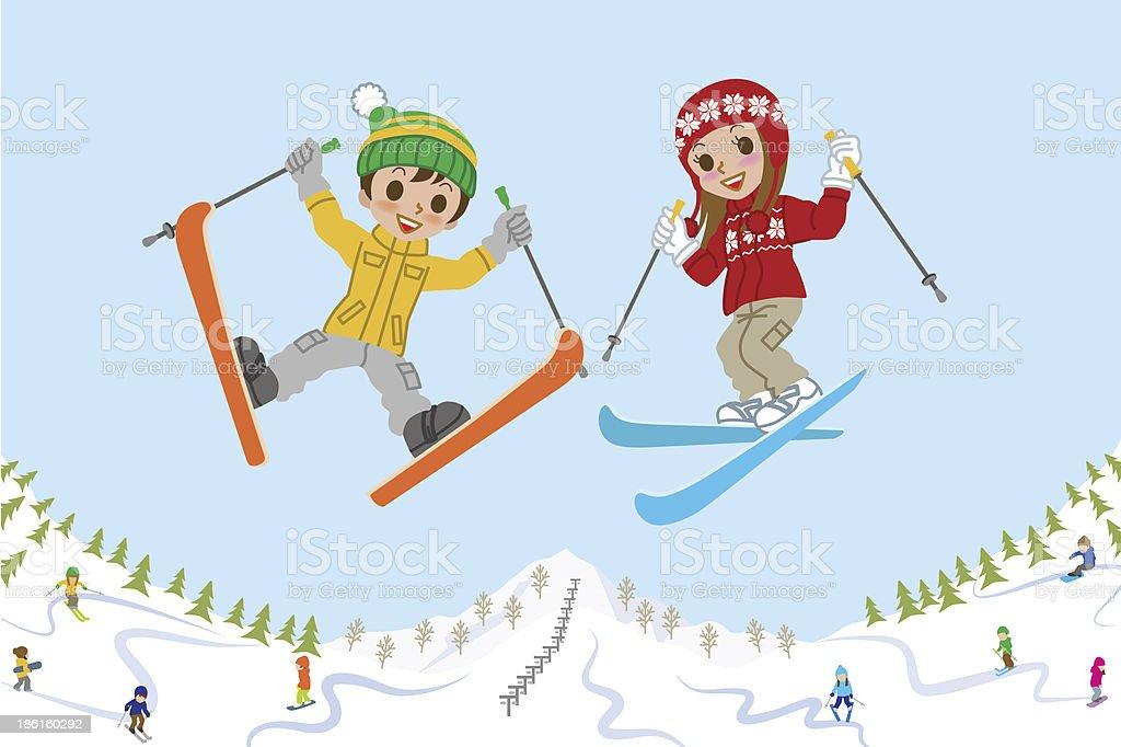 Jumping kids on ski slope royalty-free stock vector art