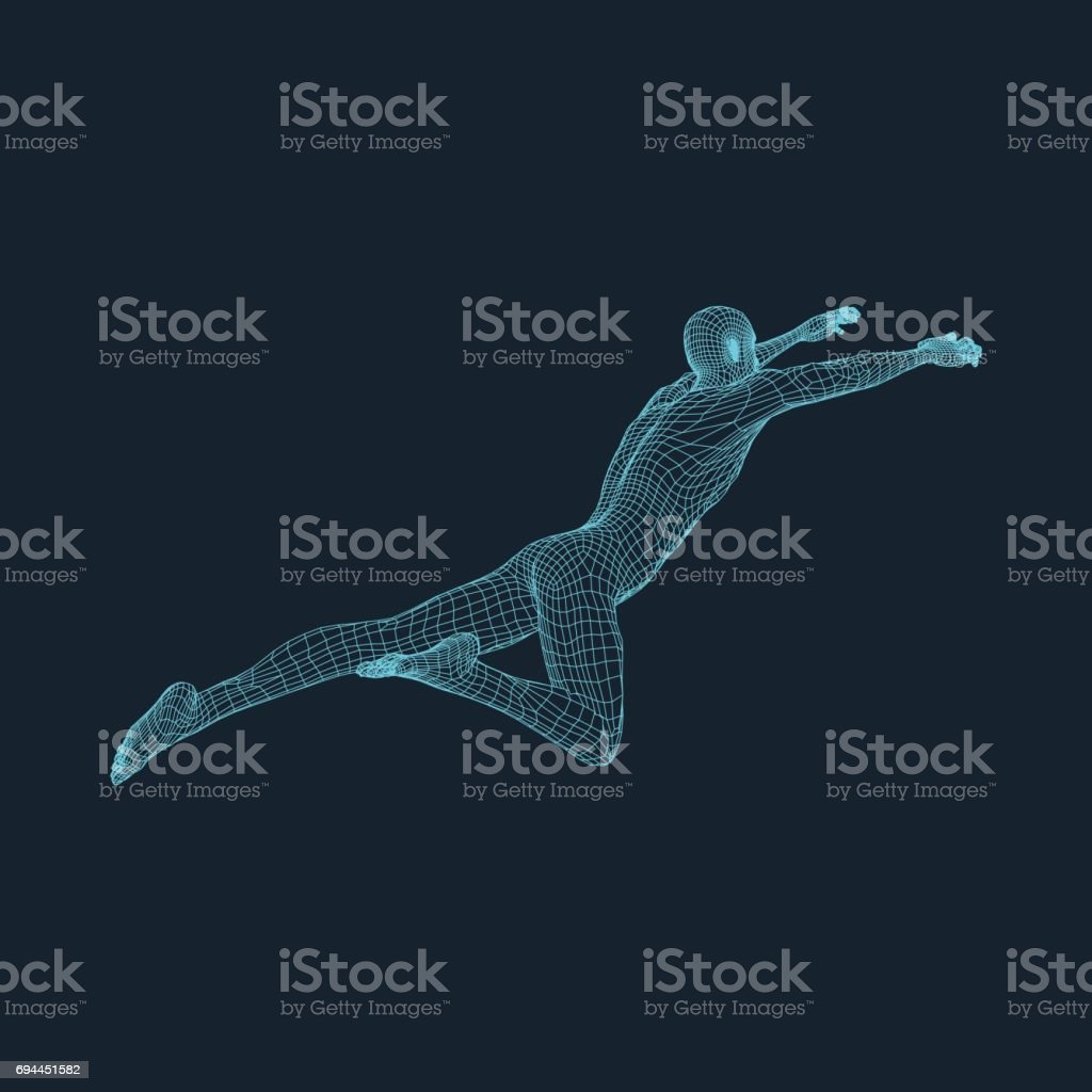 Jumping Man. 3D Model of Man. Geometric Design. Vector Illustration. vector art illustration