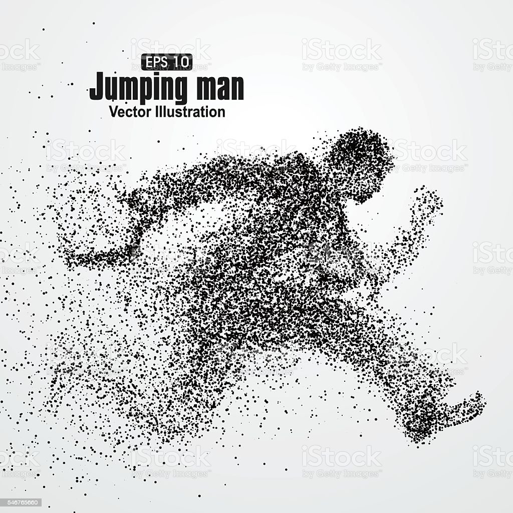 Jumping Man, office workers, particle divergent composition, vector illustration. vector art illustration