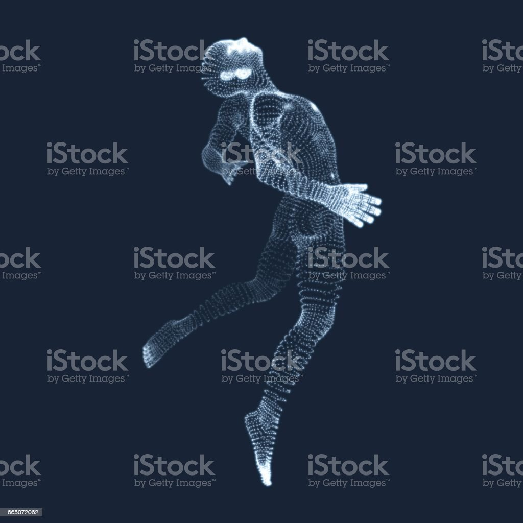 Jumping Man. Vector Graphics Composed of Particles. 3D Model of Man. vector art illustration