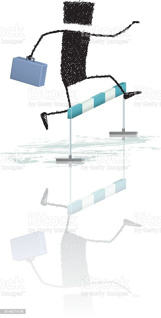 Jumping obstacles vector art illustration