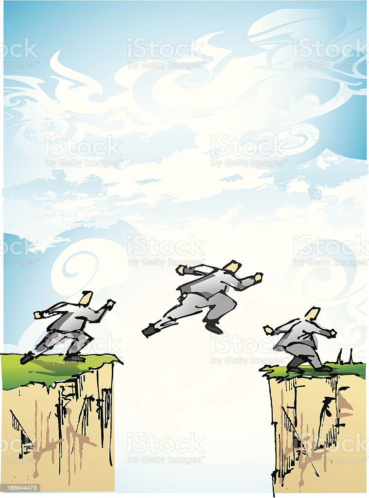 jumping over the cliff royalty-free stock vector art