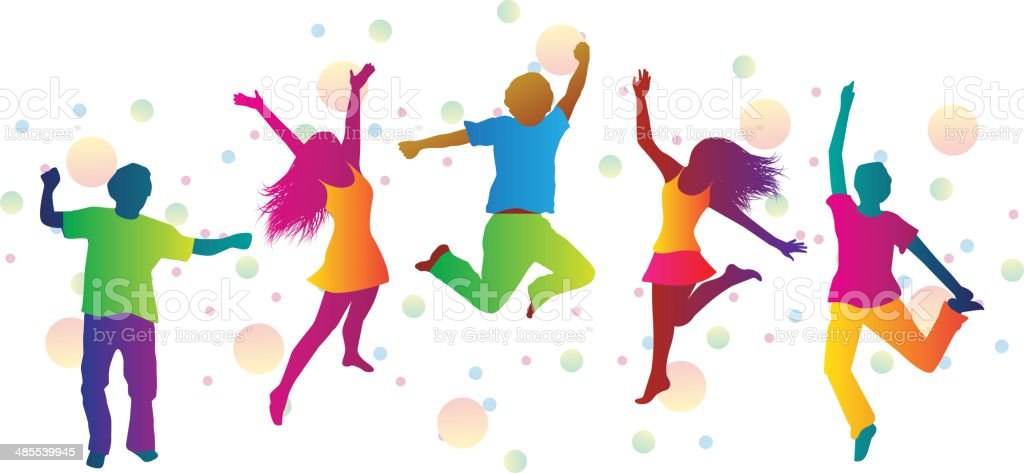 jumping people and colored spots vector art illustration
