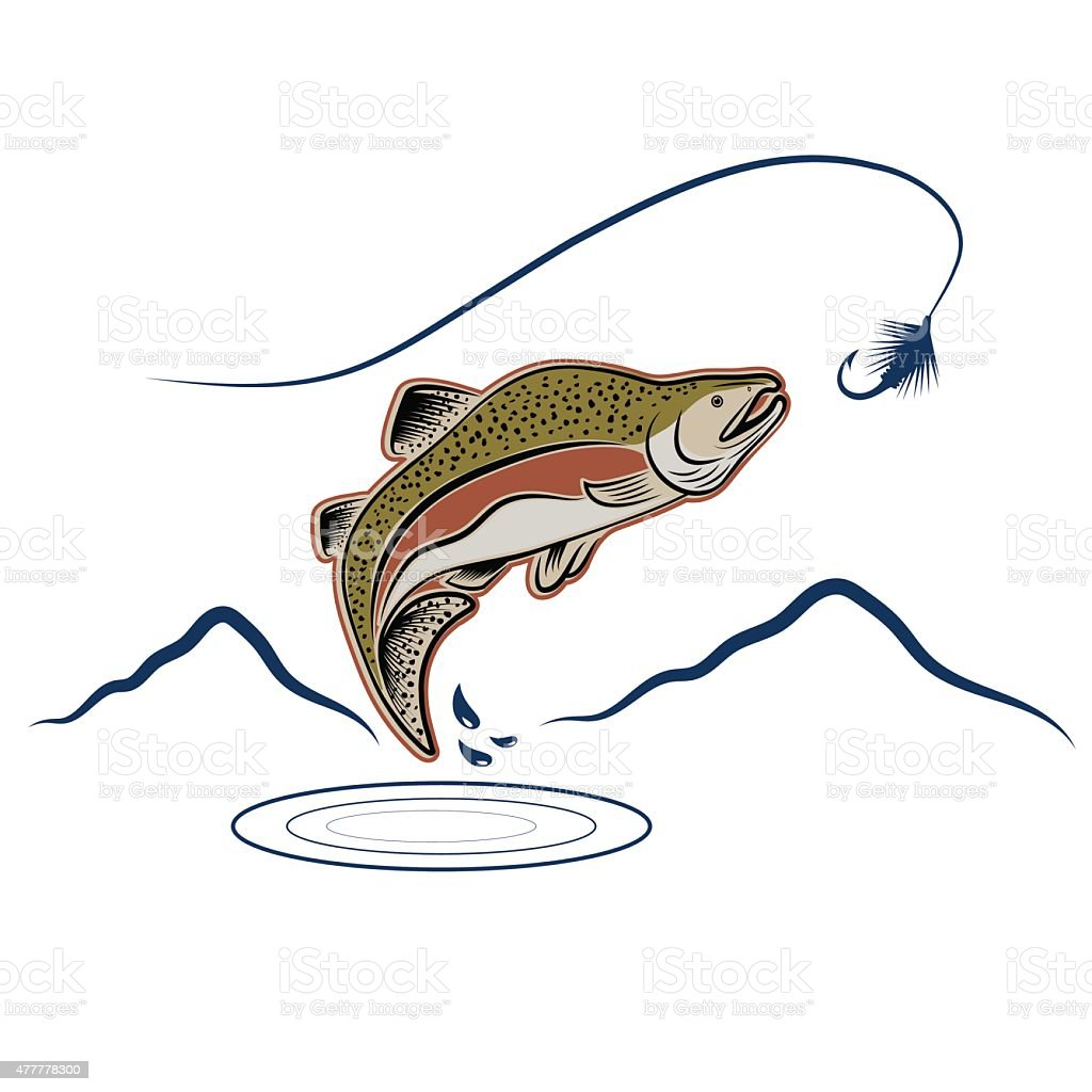 jumping salmon on landscape background vector art illustration