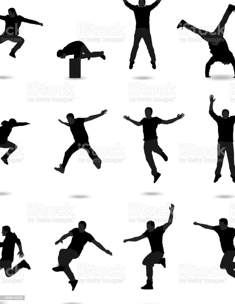 Jumping Silhouette vector art illustration