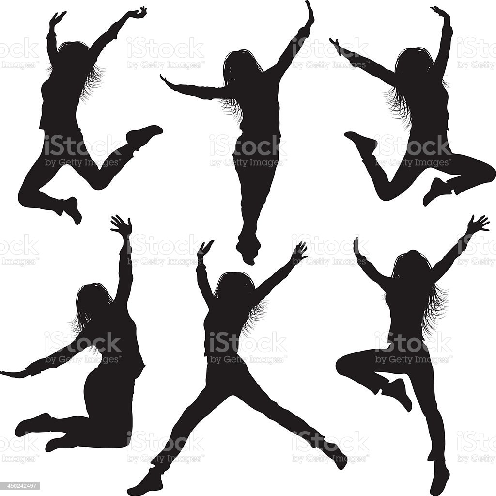 Jumping Silhouettes of Women vector art illustration