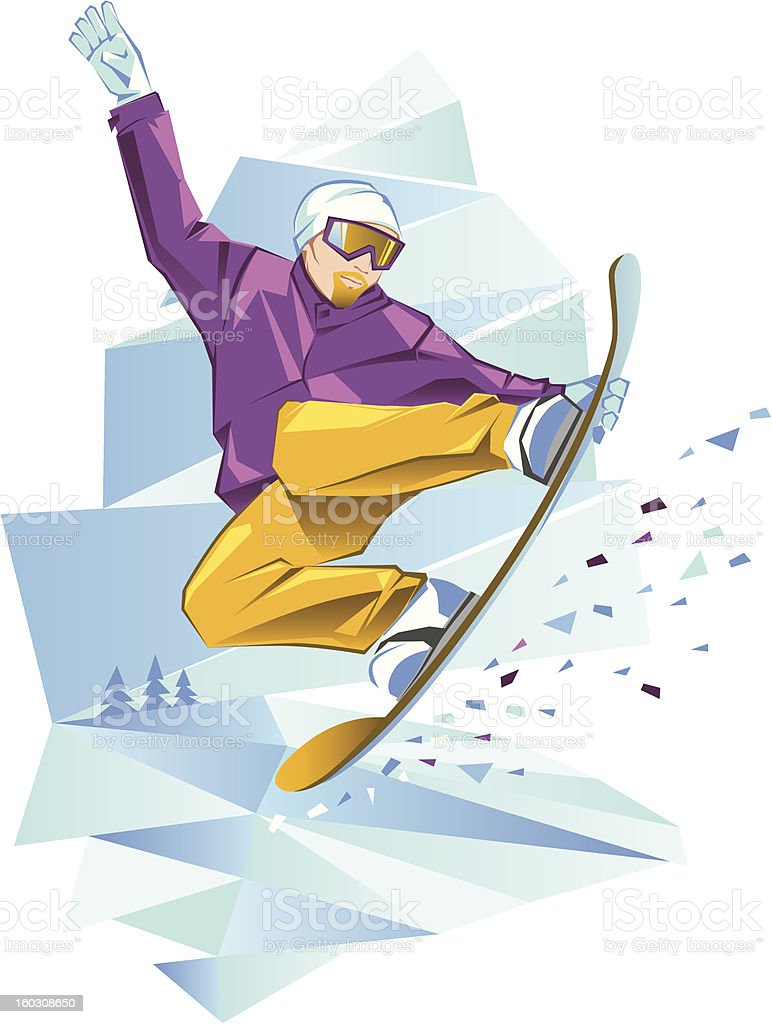 Jumping snowboarder royalty-free stock vector art