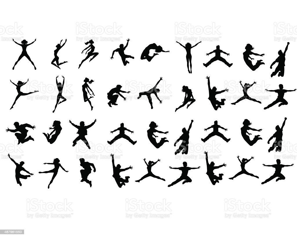 Jumping teenagers vector art illustration