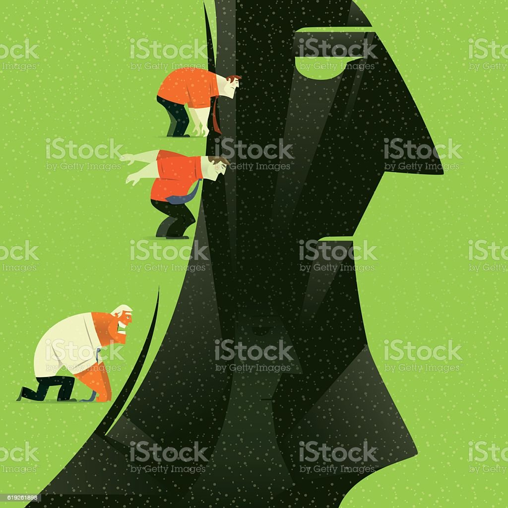 jumping through gap vector art illustration