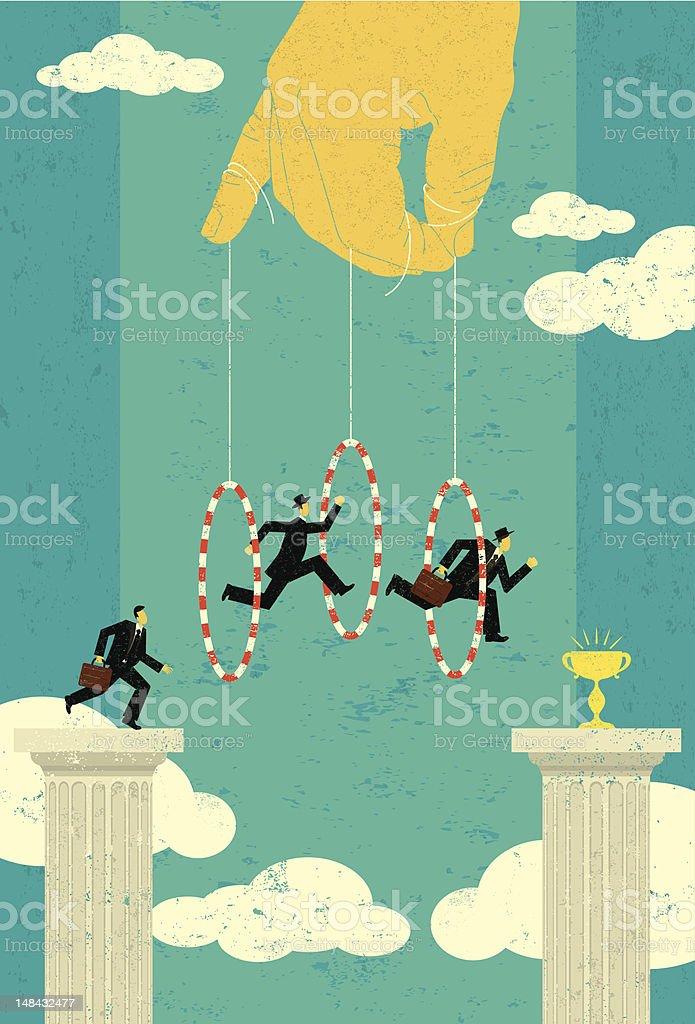 Jumping through hoops vector art illustration