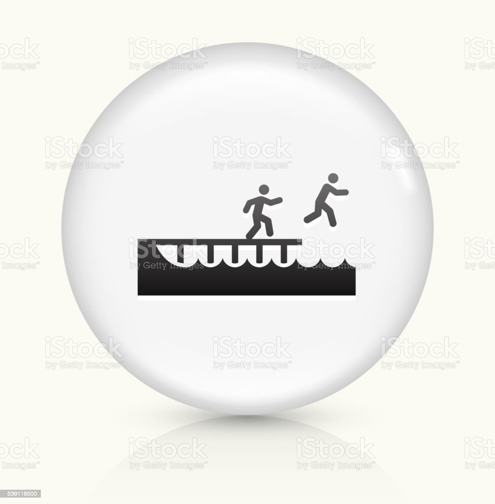 Jumping to Swim icon on white round vector button vector art illustration