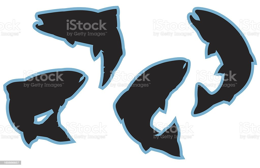 Jumping Trout Silhouettes vector art illustration