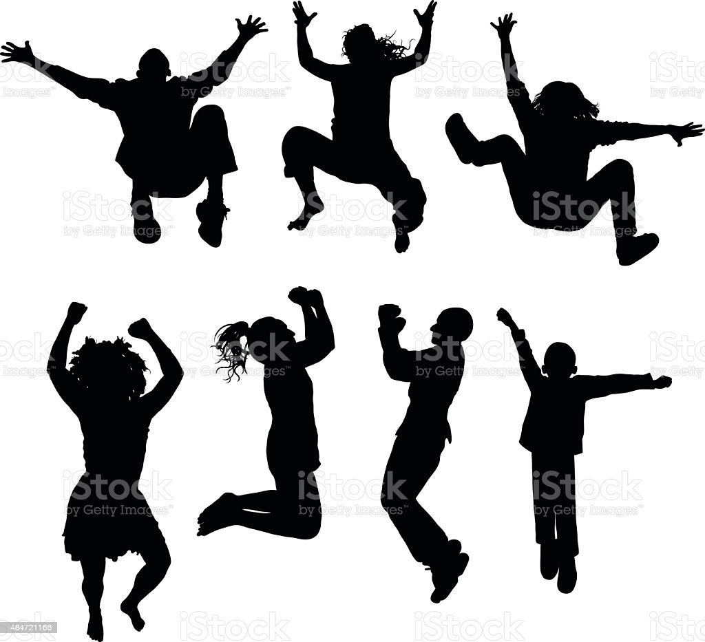 Jumping vector art illustration