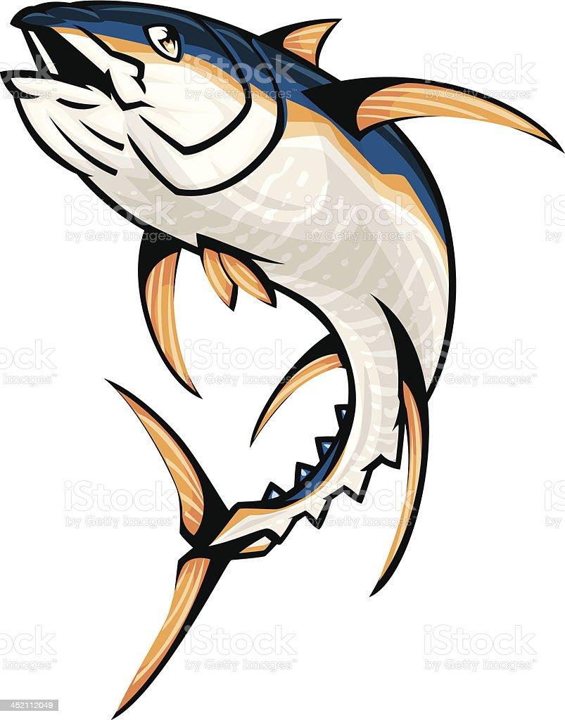 jumping yellowfin tuna royalty-free stock vector art