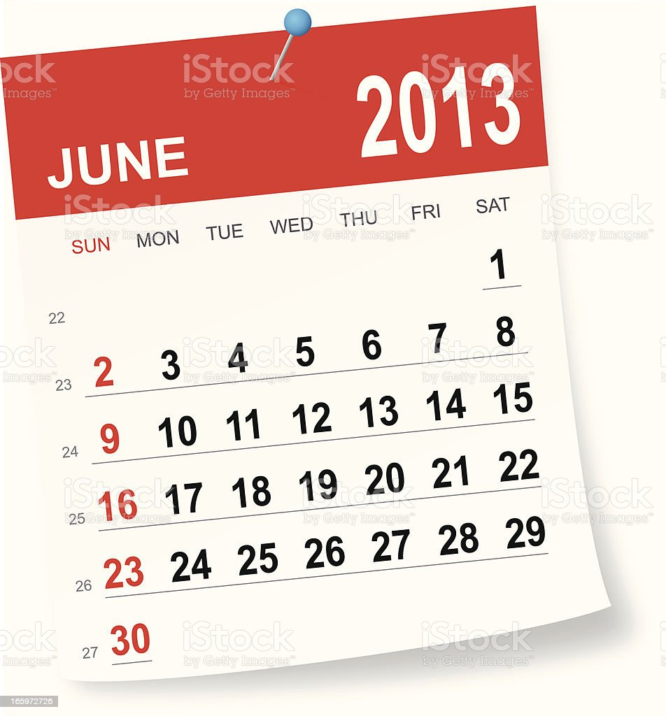 June 2013 calendar royalty-free stock vector art