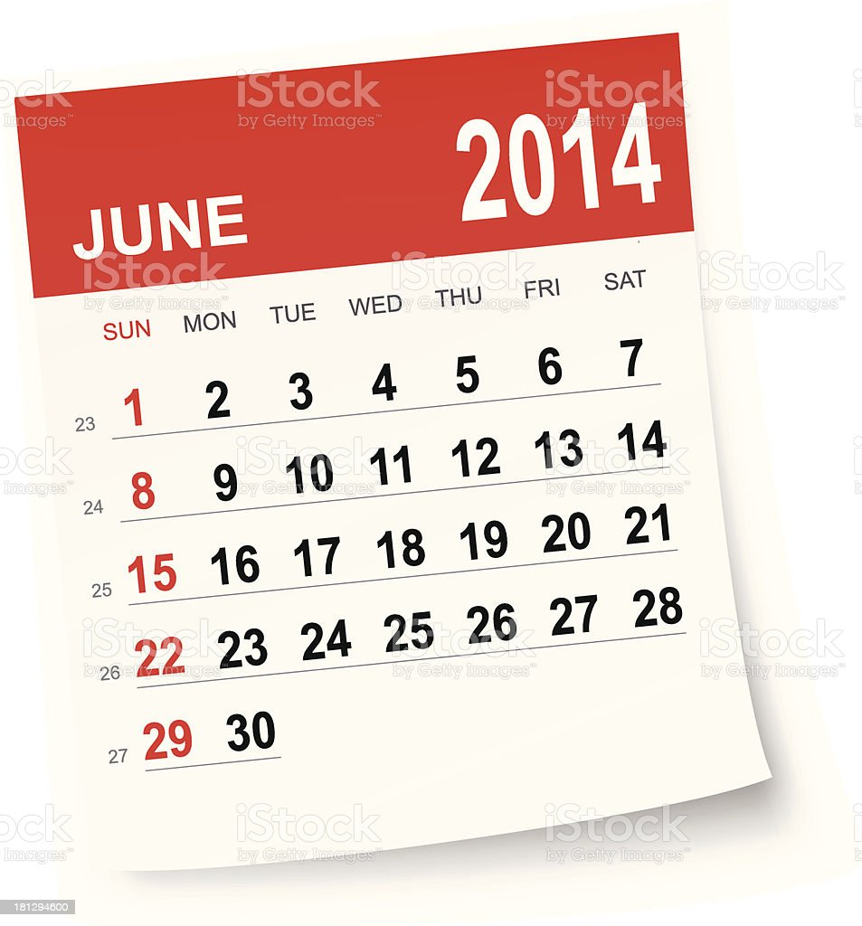 June 2014 calendar royalty-free stock vector art
