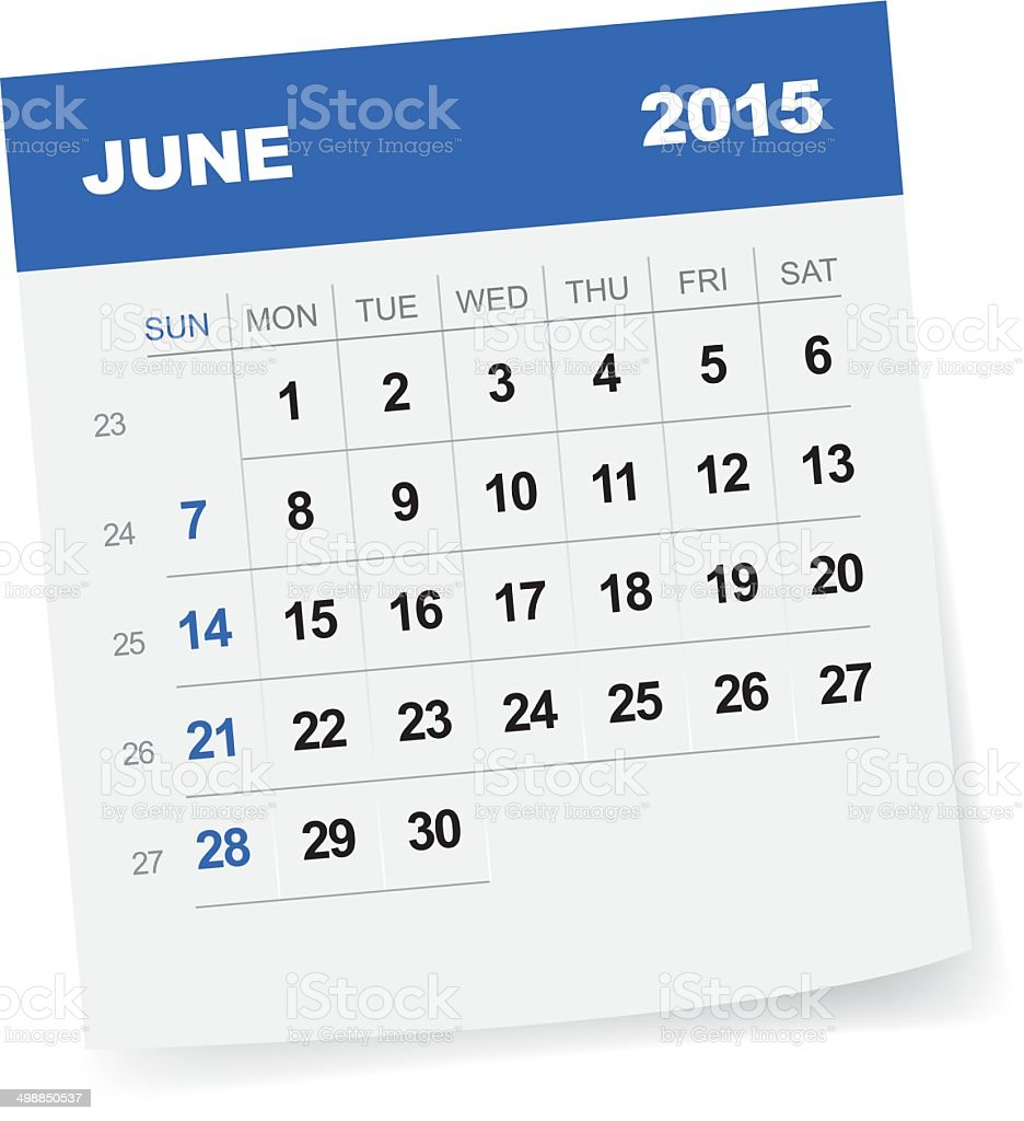 June 2015 Calendar vector art illustration