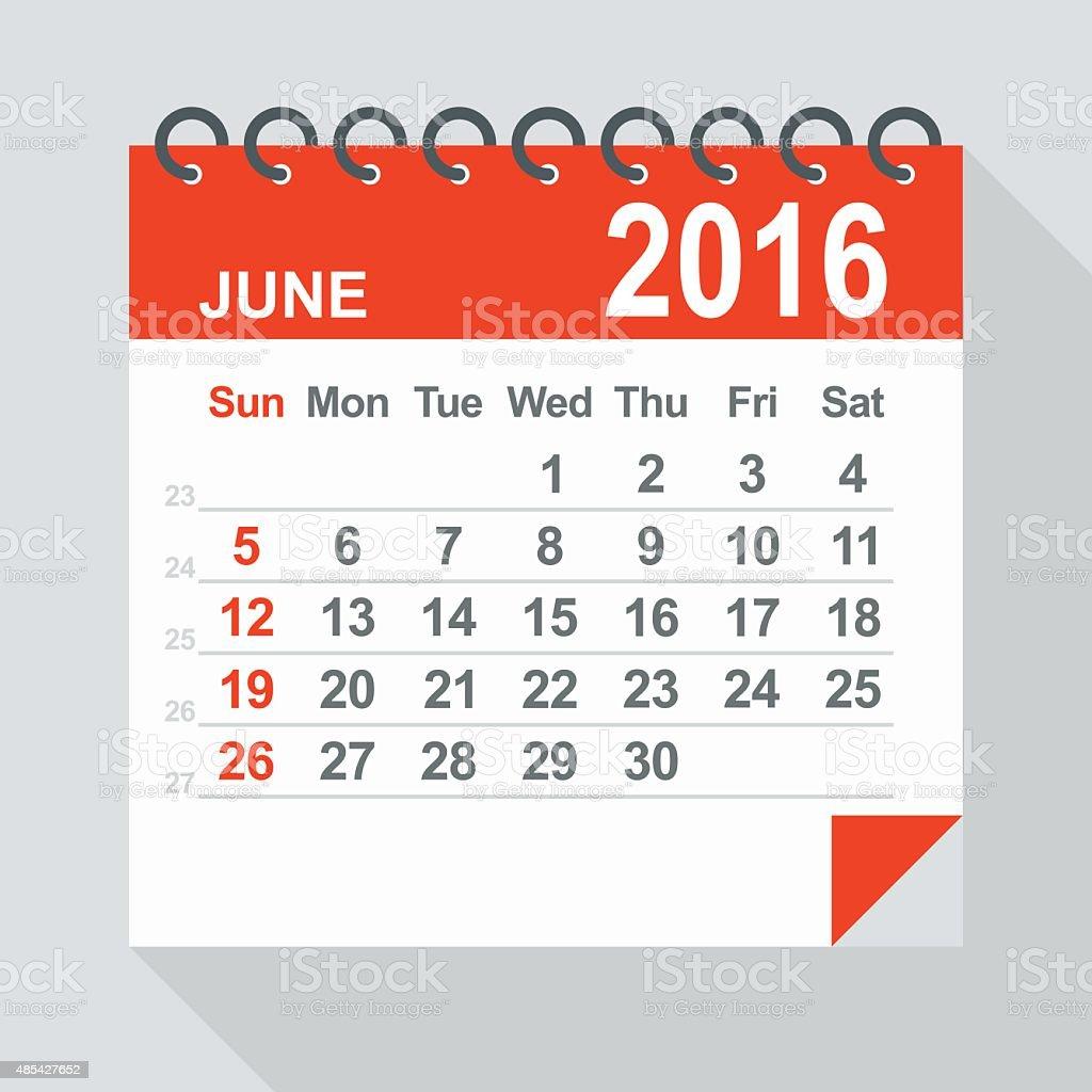 June 2016 calendar - Illustration vector art illustration