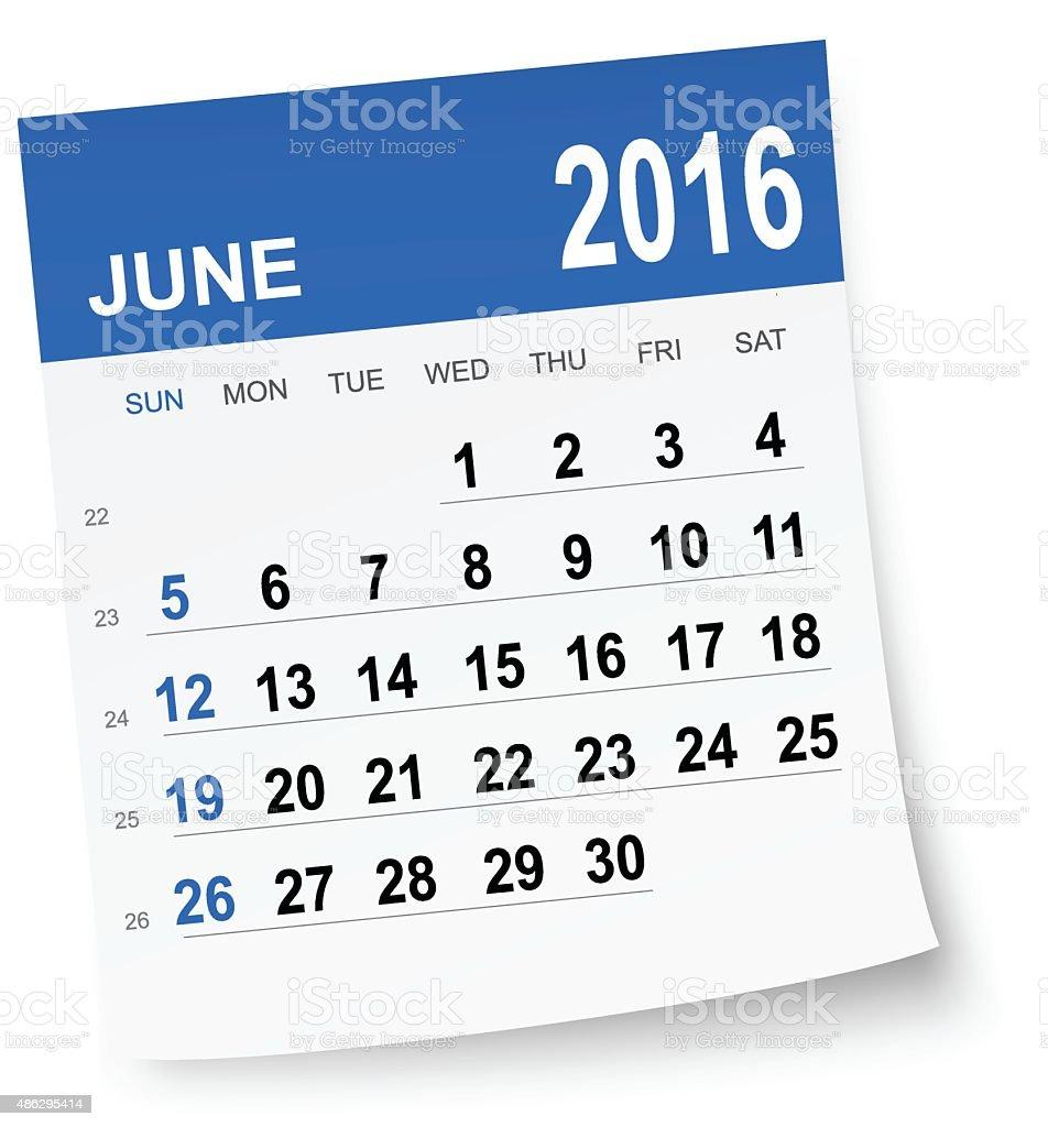 June 2016 calendar vector art illustration