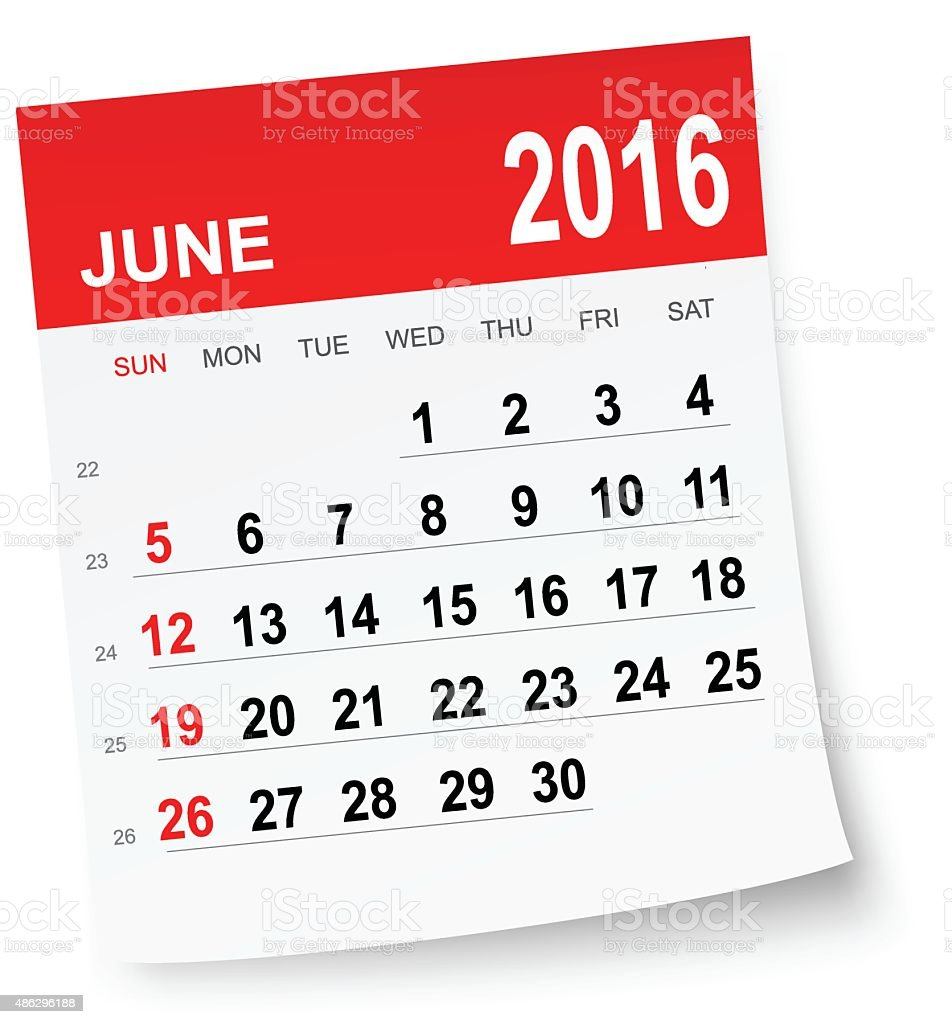 June 2016 calendar vector art illustration
