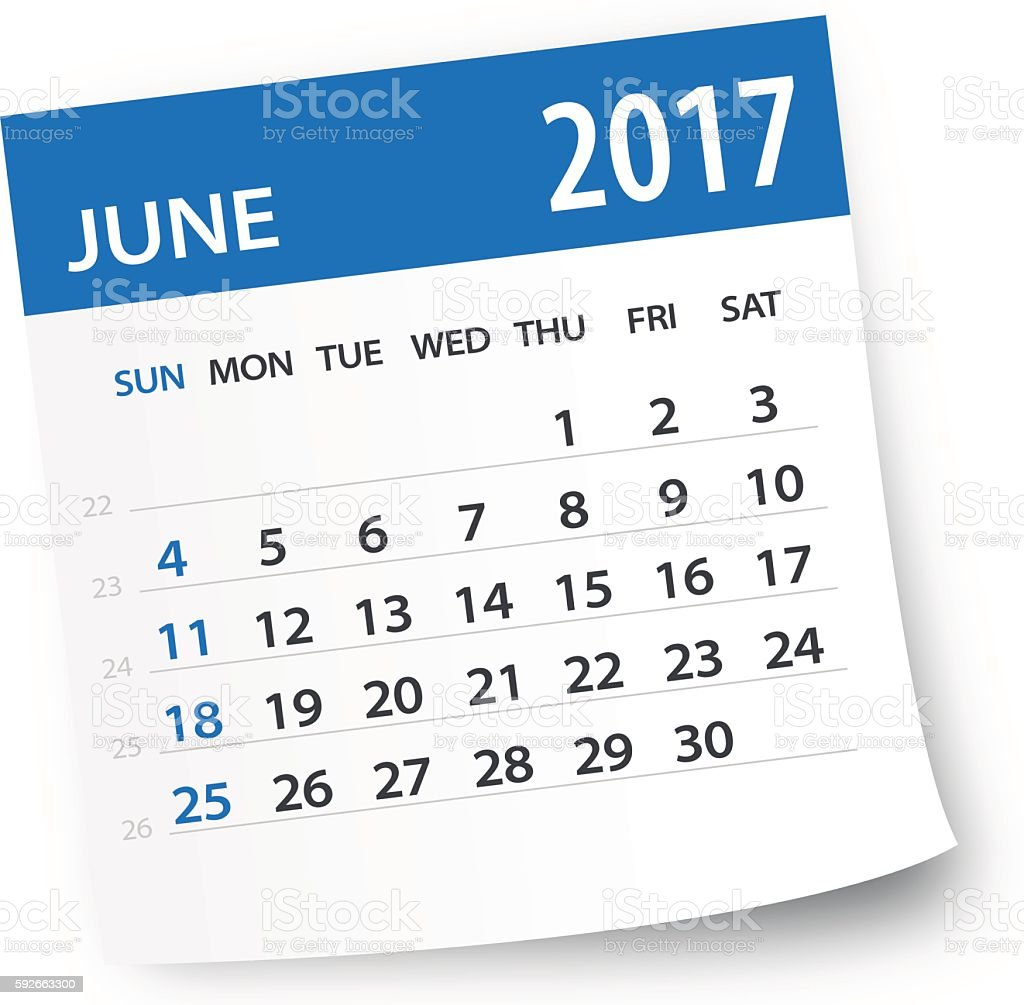 June 2017 calendar leaf - Illustration vector art illustration