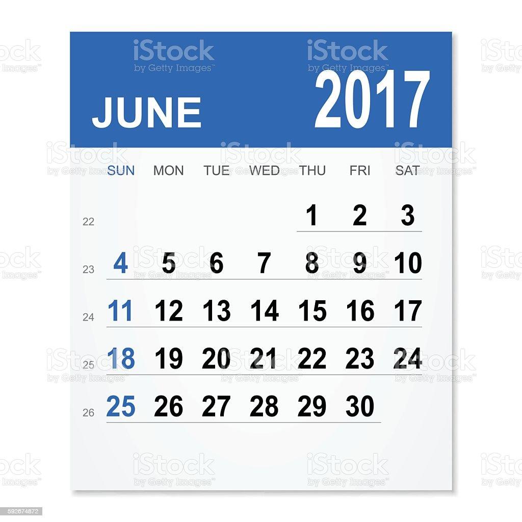 June 2017 calendar vector art illustration