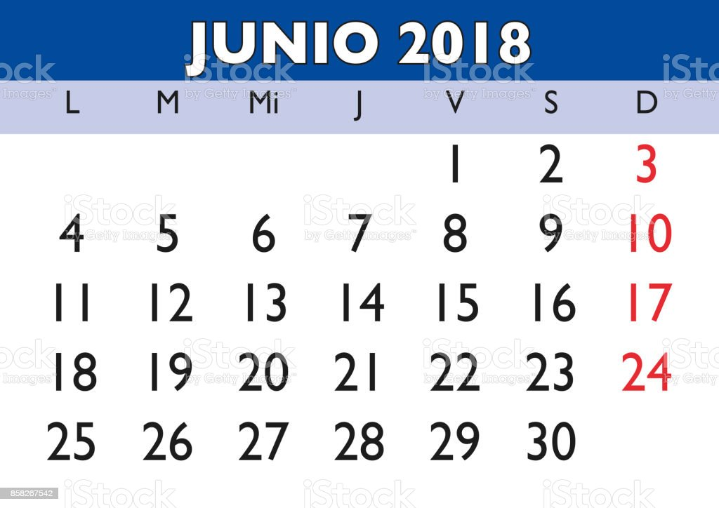 June 2018 Wall Calendar Spanish Stock Vector Art & More Images of ...