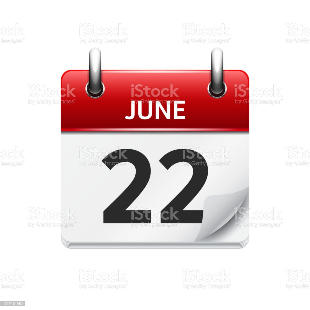 June  22. Vector flat daily calendar icon. Date and time vector art illustration