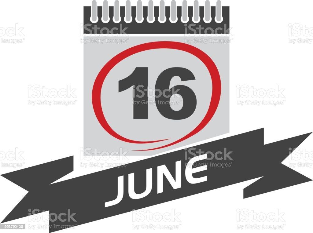 16 June Calendar with Ribbon vector art illustration
