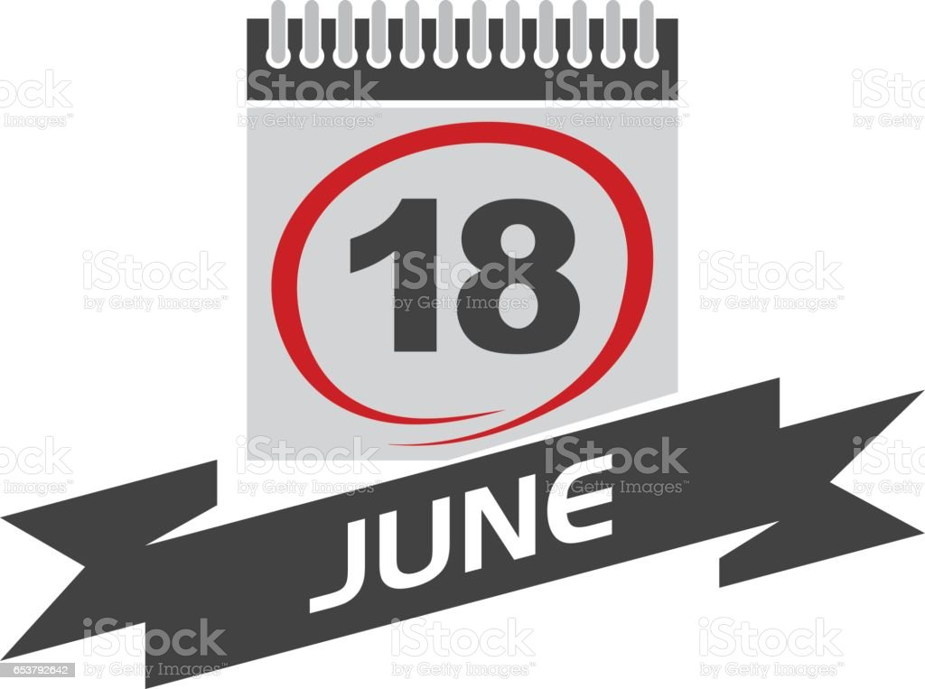 18 June Calendar with Ribbon vector art illustration