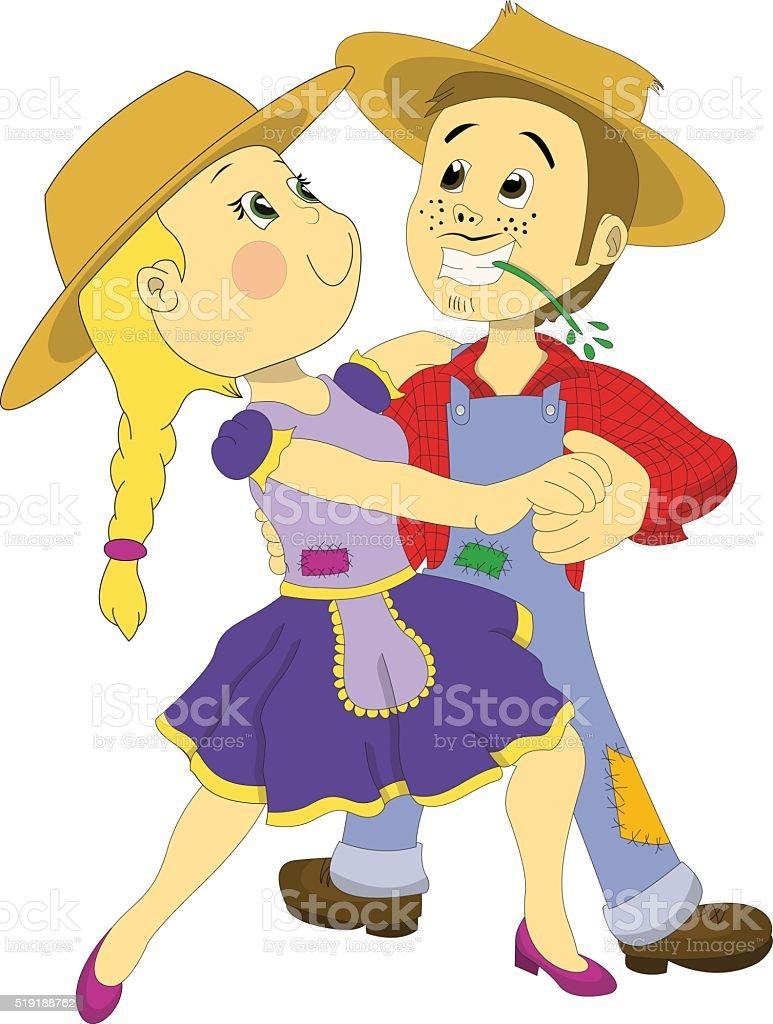 June Party Dancing Couple - Brazilian Festa Junina vector art illustration