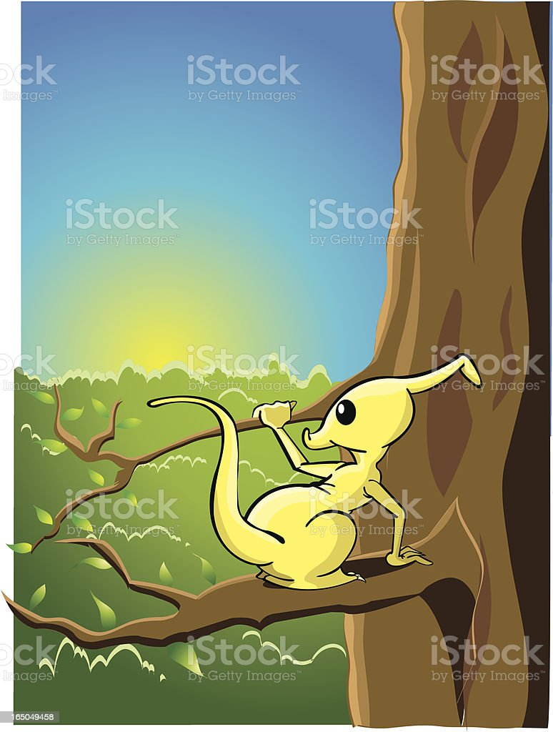 Jungle animal in a tree vector art illustration