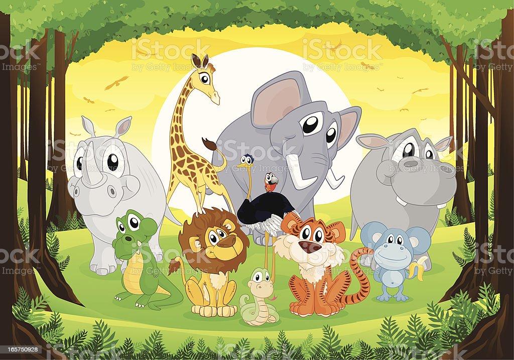 Jungle Animals Cartoon Collection royalty-free stock vector art
