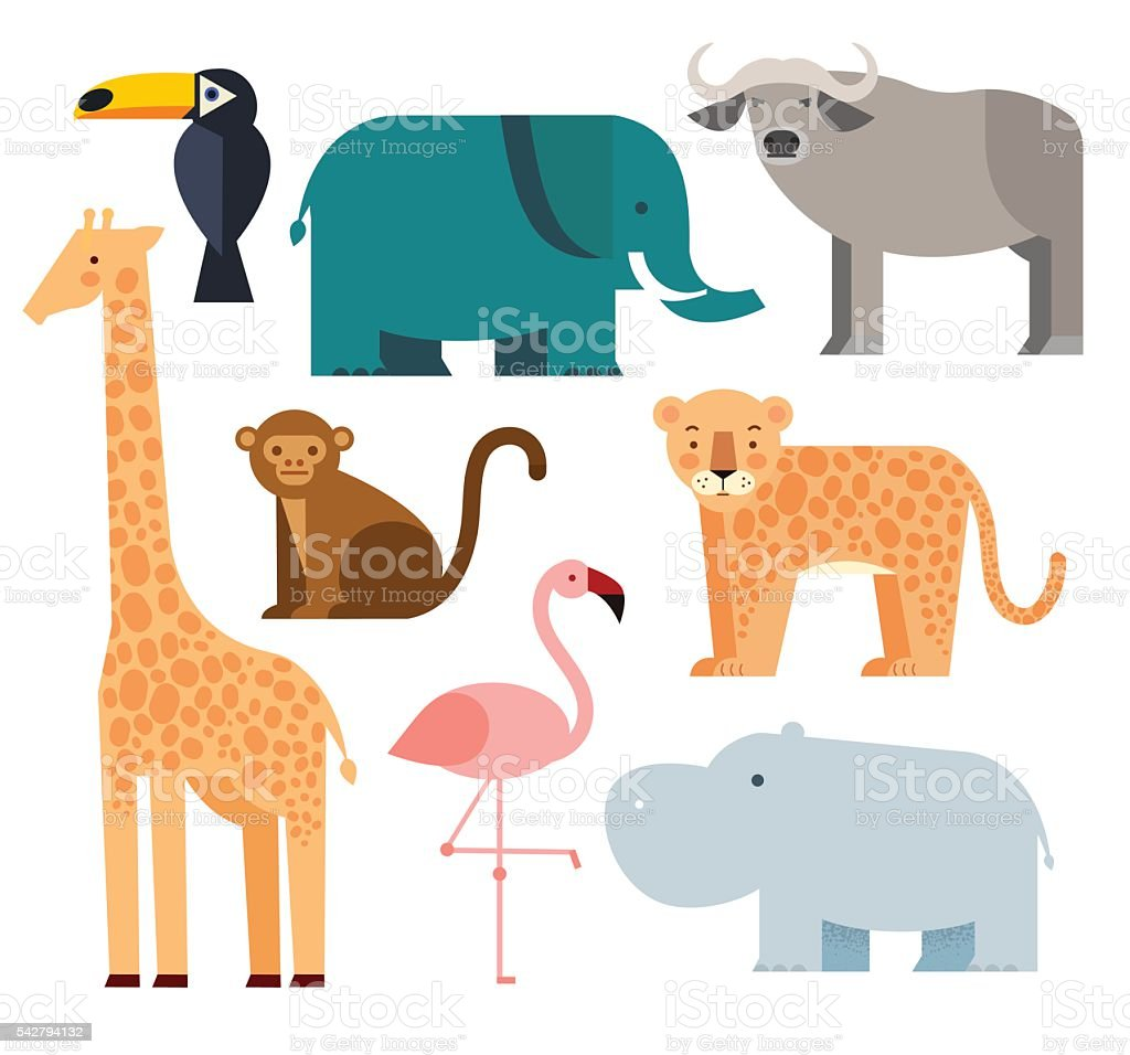 Jungle animals icons set isolated on a white background. Vector...