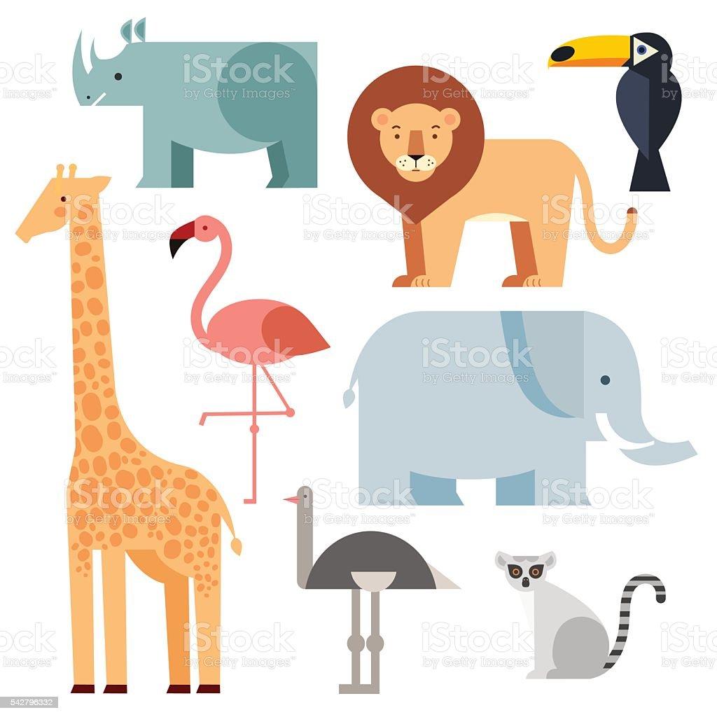 Jungle animals icons set vector art illustration