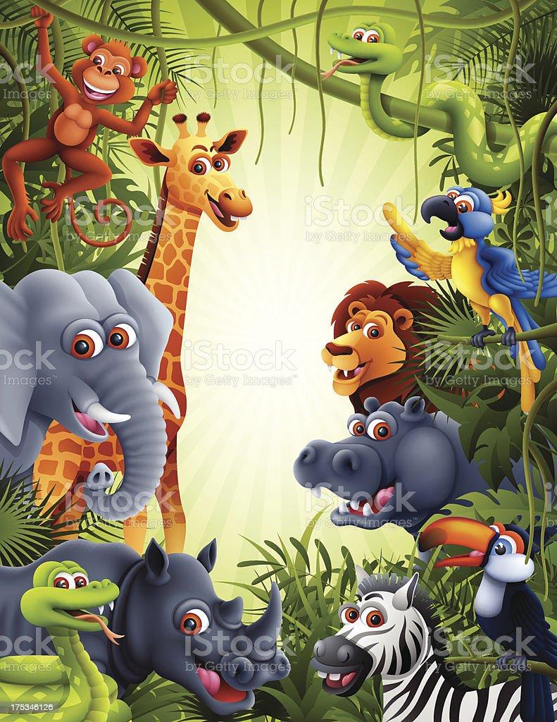 Jungle Animals vector art illustration