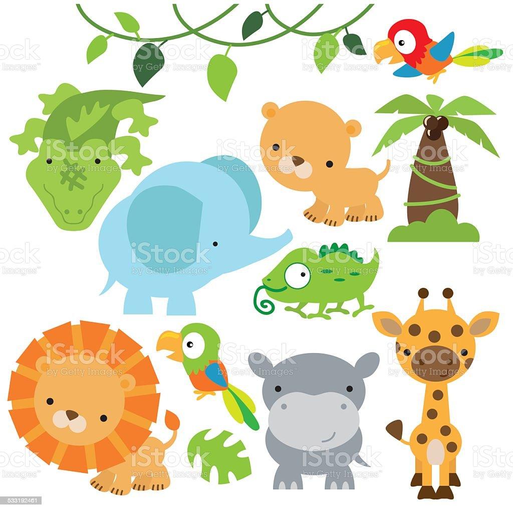 Jungle animals vector illustration vector art illustration