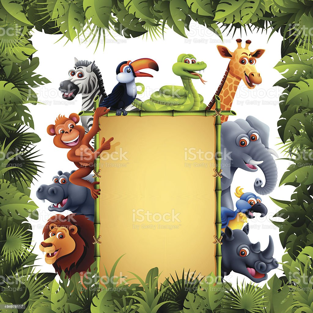 Jungle Animals with Bamboo Banner vector art illustration