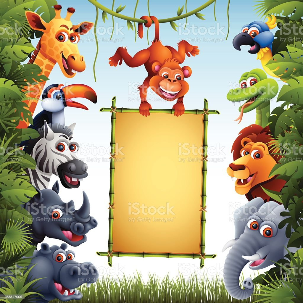 Jungle Animals with Bamboo Sign vector art illustration